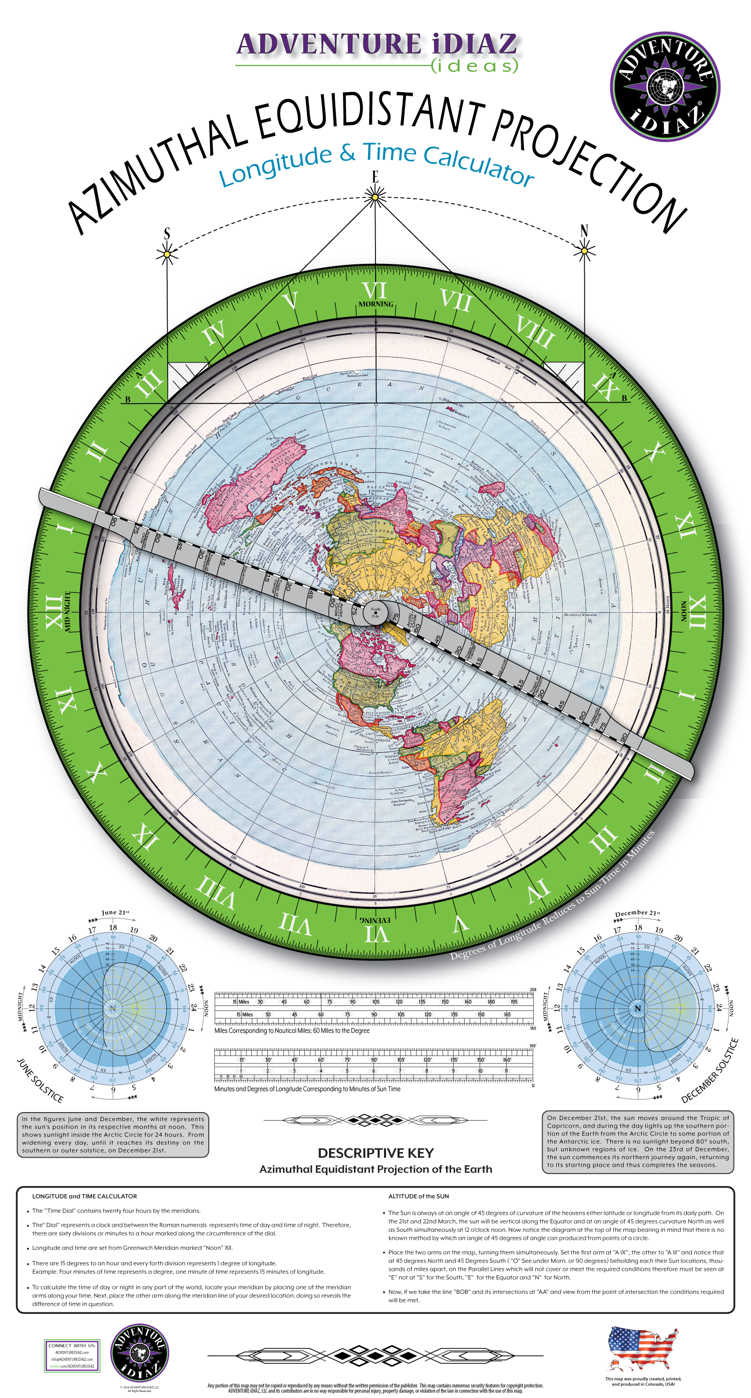 Azimuthal Equidistant Projection Map of the Earth (Dial Arms & Instructions)