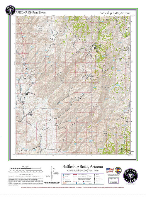 Battleship Butte, Arizona Map / Off-Road Series
