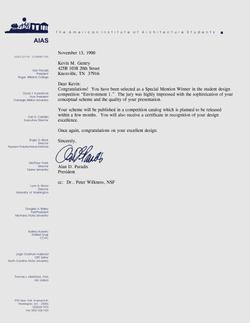 Environment 1 - congratulatory letter - 1990