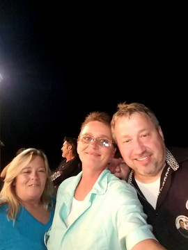 Connie Anders Carver, Rhonda Patton Merriman and Kevin Gentry (still sporting ooster tail)