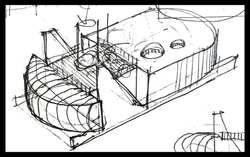 Isometric view of research station pod