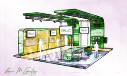 GLO Exhibit Booth concept rendering