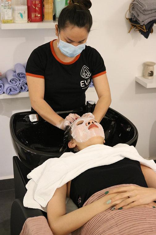 Facial treatment at EVA's