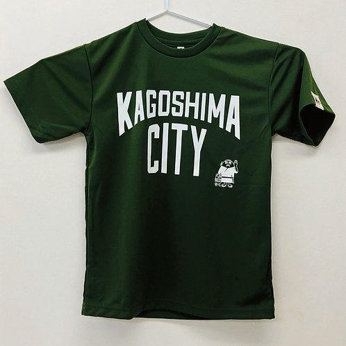 KAGOSHIMACITY(ドライTシャツ) オリーブ×白