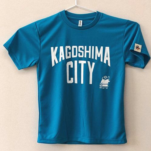 KAGOSHIMACITY(ドライTシャツ) ターコイズ×白
