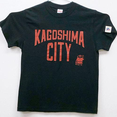 KAGOSHIMACITY(綿Tシャツ)ブラック×レンガ