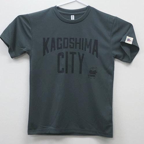KAGOSHIMACITY(ドライTシャツ)ダークグレー×黒