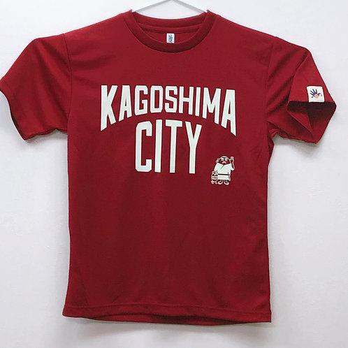 KAGOSHIMACITY(ドライTシャツ)バーガンディ×ペールグリーン