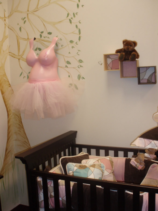 Pink tutu belly hanging in nursery