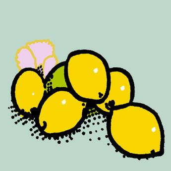 Lemons and pink pansy 4x4print.jpg