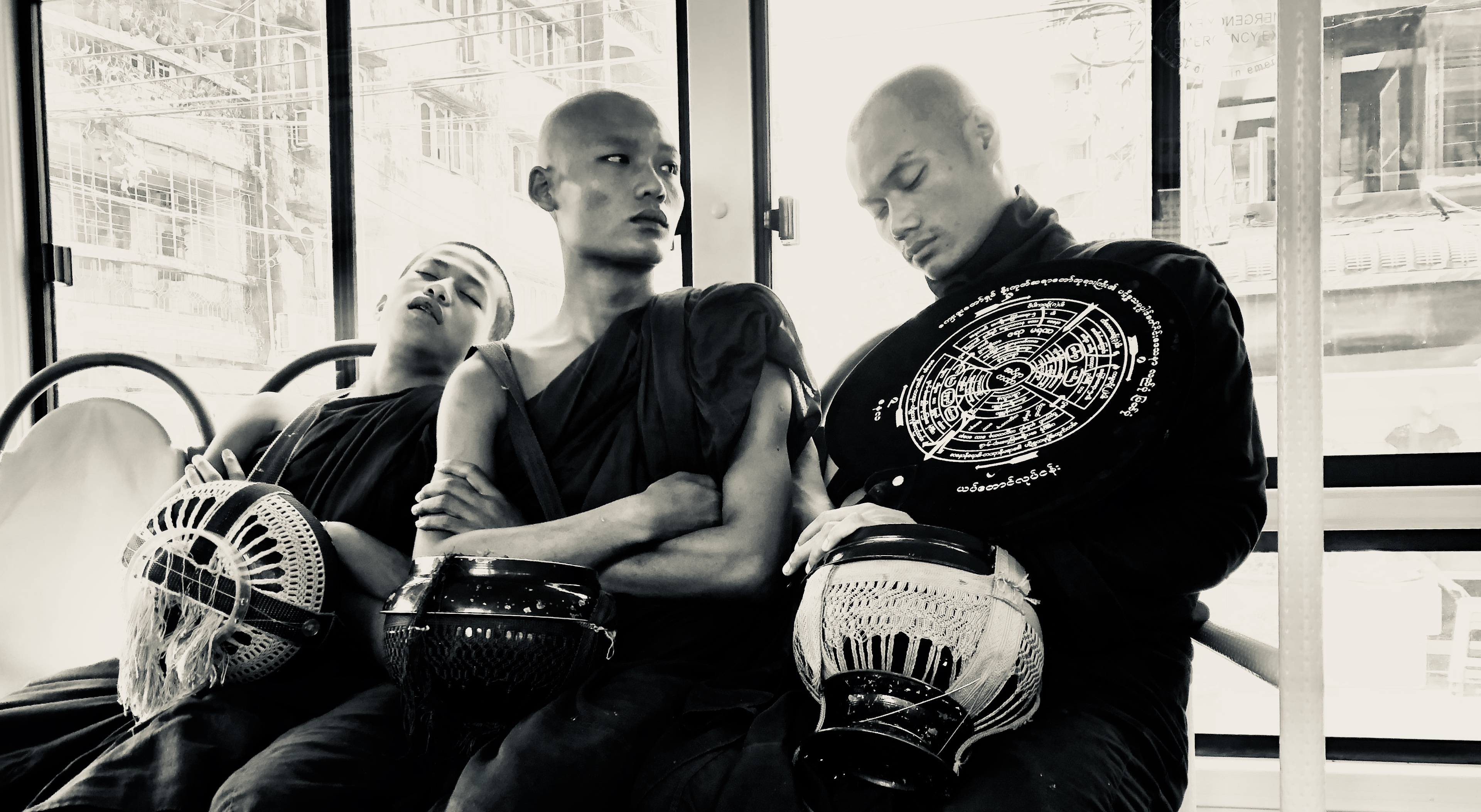 Three monks, bus