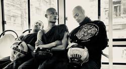 Three monks, bus