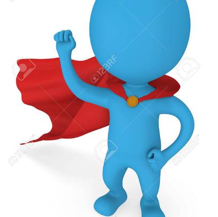 uomo-coraggioso-supereroe-con-mantello-rosso-e-segno-della-vittoria-mano-destra-sollevò-il-pugno-chiuso