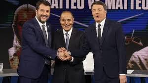 Molta attenzione mediatica per il dibattito televisivo tra Matteo Renzi e Matteo Salvini da Bruno Ve
