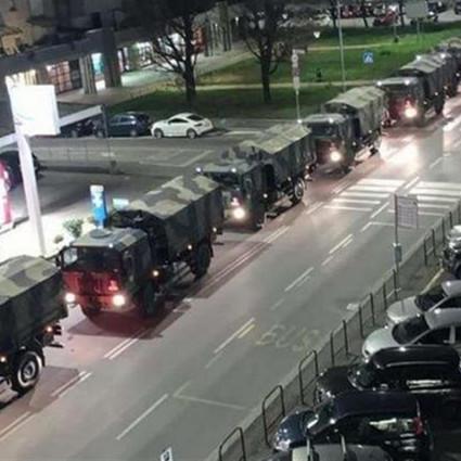 bare sui camion militari