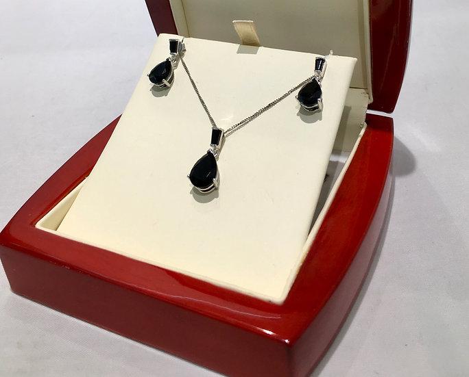 Pear Shaped Onyx 14K White Gold Set