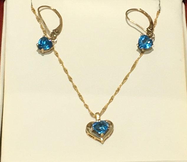 Heart Shaped 14K Yellow Gold Blue Topaz Set