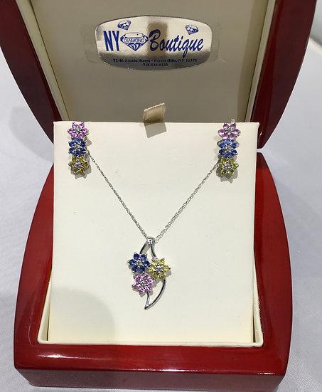 Multi Colored Sapphire 14K White Gold Set