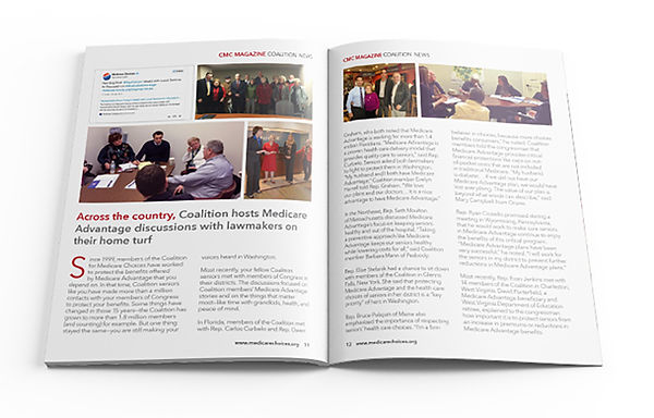 An inside-spread from CHOICES, a digtal magazine created by the Coalition for Medicare Choices.