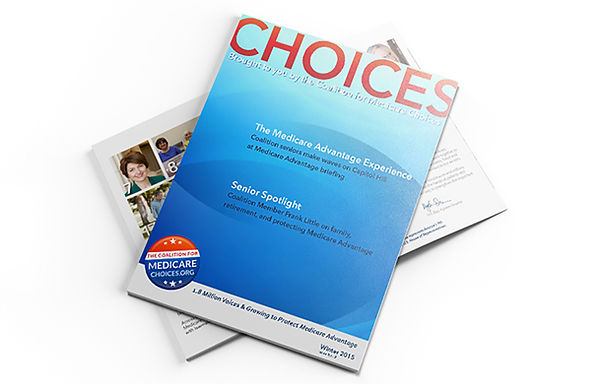 Table of contents page from CHOICES, a digital magazine created by the Coalition for Medicare Choices.