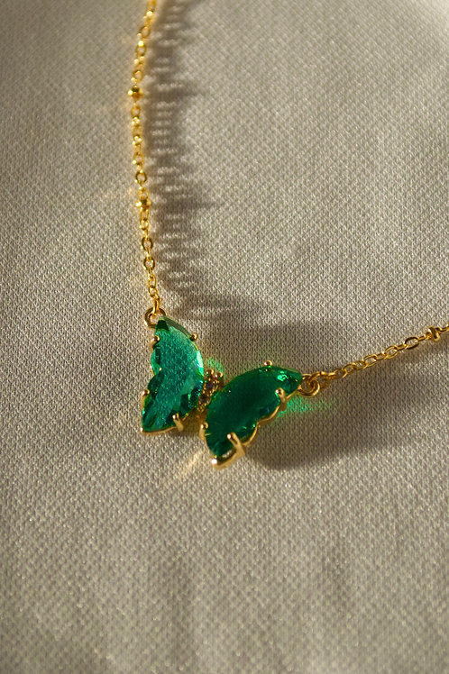 Glass Green Butterfly Necklace
