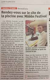 "Article du journal ""Vosges Matin"" - lundi 15 juillet 2019"