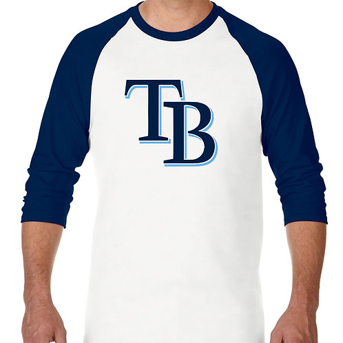 "PLAYERA RANGLAN 3/4"" MLB RAYS DE TAMPA BAY BIG LOGO"