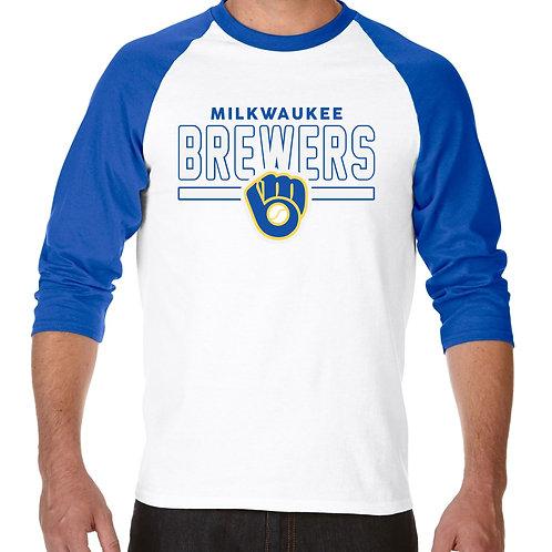 "PLAYERA RANGLAN 3/4"" MLB BREWERS DE MILWAUKEE FRONTLINE"