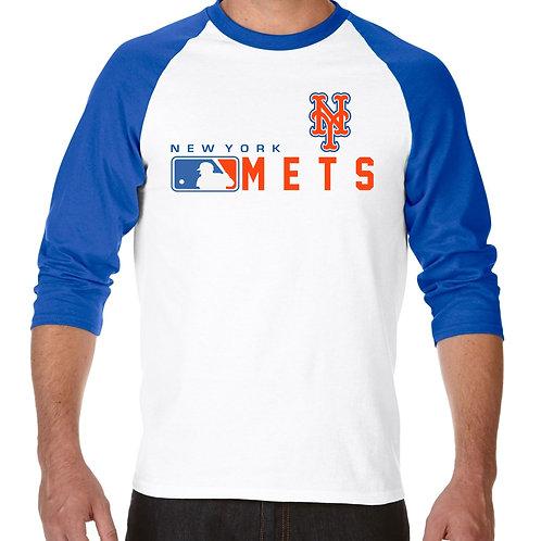 "PLAYERA RANGLAN 3/4"" MLB METS DE NEW YORK DISTINCTION"