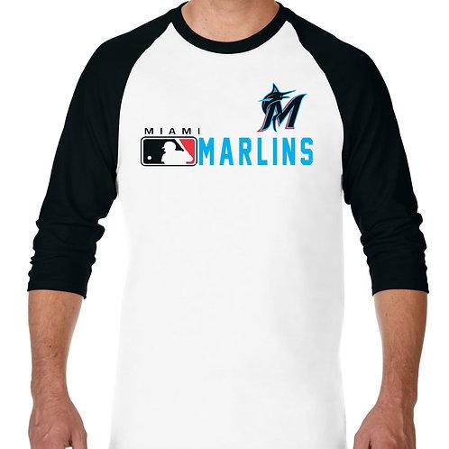 "PLAYERA RANGLAN 3/4"" MLB MARLINS DE MIAMI DISTINCTION"