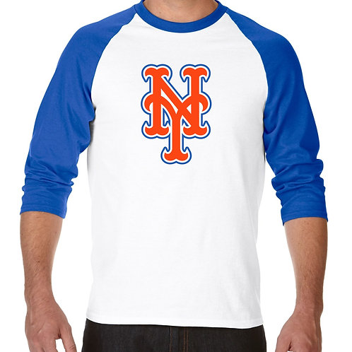 "PLAYERA RANGLAN 3/4"" MLB METS DE NEW YORK BIG LOGO"