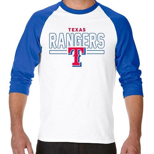 "PLAYERA RANGLAN 3/4"" MLB RANGERS DE TEXAS FRONTLINE"