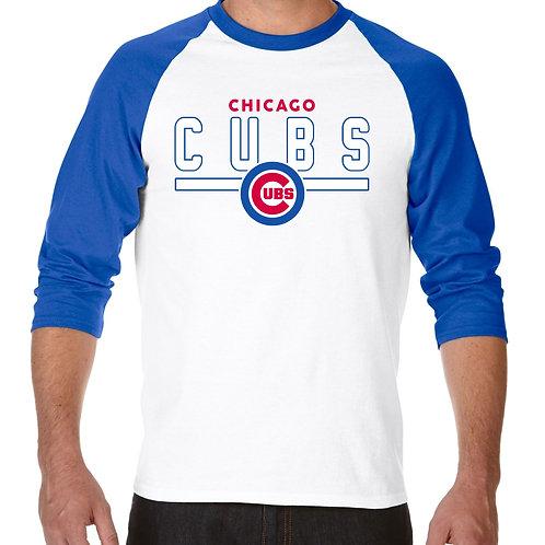 """PLAYERA RANGLAN 3/4"""" MLB CUBS DE CHICAGO FRONTLINE"""