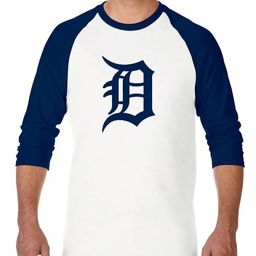 "PLAYERA RANGLAN 3/4"" MLB TIGERS DE DRTROIT BIG LOGO"