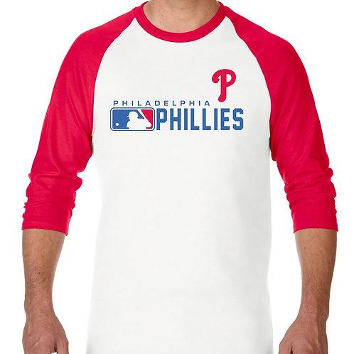 """PLAYERA RANGLAN 3/4"""" MLB PHILLIES DE PHILADELPHIA DISTINCTION"""