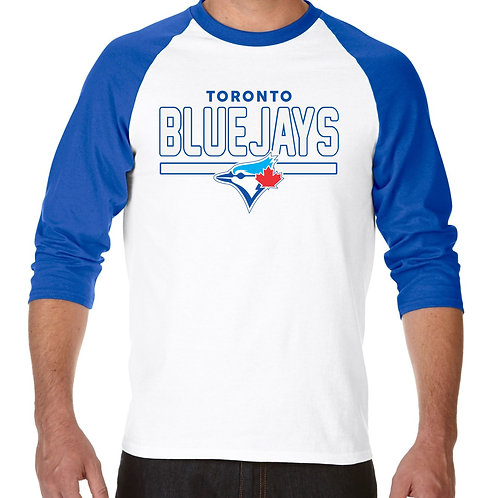 "PLAYERA RANGLAN 3/4"" MLB BLUE JAYS DE TORONTO FRONTLINE"
