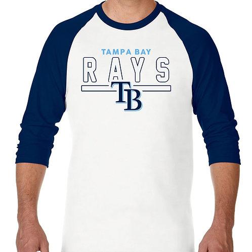 """PLAYERA RANGLAN 3/4"""" MLB RAYS DE TAMPA BAY FRONTLINE"""
