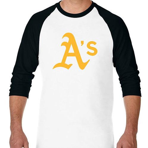 "PLAYERA RANGLAN 3/4"" MLB ATHLETICS OAKLAND BIG LOGO"