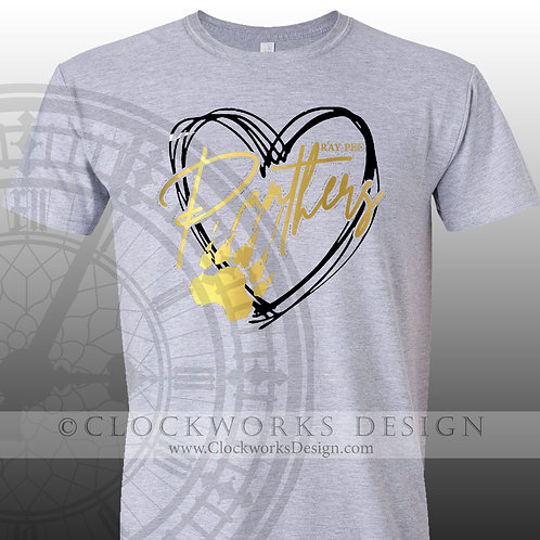 Hand Drawn Heart Ray Pec Panthers shirt,black and gold,school spirit,panther