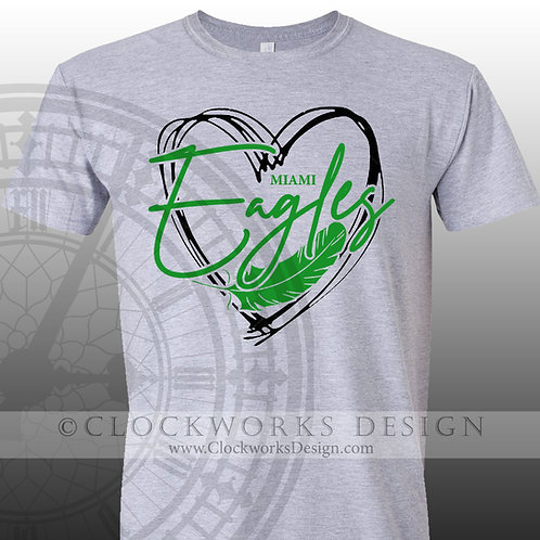 Hand Drawn Heart Miami Eagles shirt,green and white,school spirit,eagle pride
