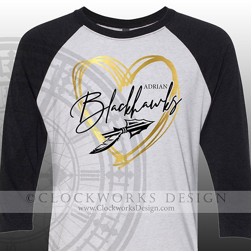 Hand Drawn Heart Adrian Blackhawks shirt,black and gold,school spirit,blackhawk