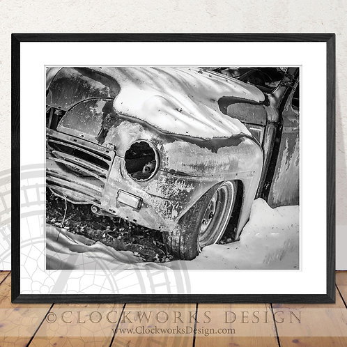 Too Long on the Road | Photography, print,antique truck, black and white photo