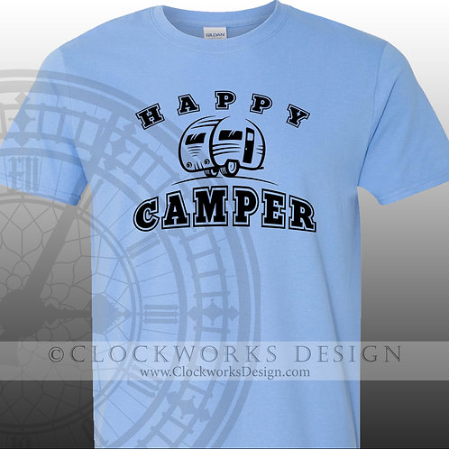 Happy Camper,shirt,shirts-with-sayings,camping,shirt-for-men,shirts-for-women
