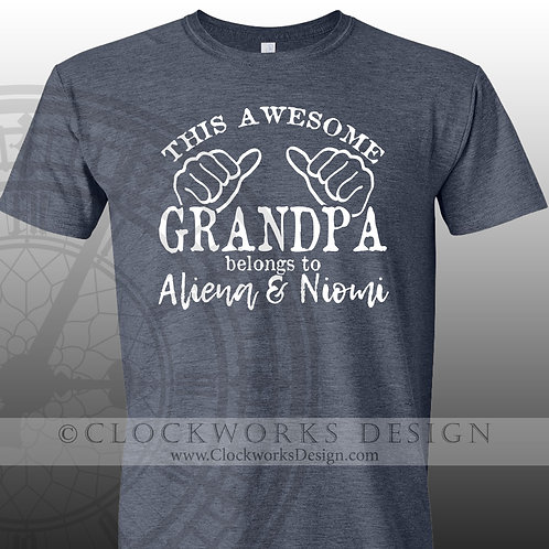 This awesome grandpa belongs to,personalized grandkids,grandpa shirt,shirts
