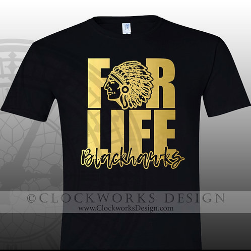 Adrian Blackhawk FOR LIFE,team spirit,personalizedblack and gold,school spirit