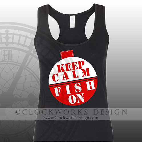 Keep-Calm-and-Fish-On,shirt,fishing,lake,ocean,beach,vacation shirts