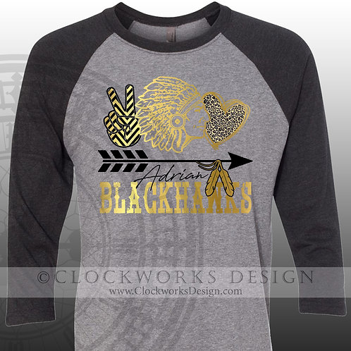 Adrian Blackhawks Peace Leopard,team spirit,personalizedblack and gold,school