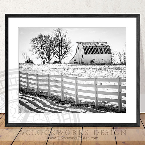 White Old Barn | Photographysnow, rustic, western antique, vintage, print, black