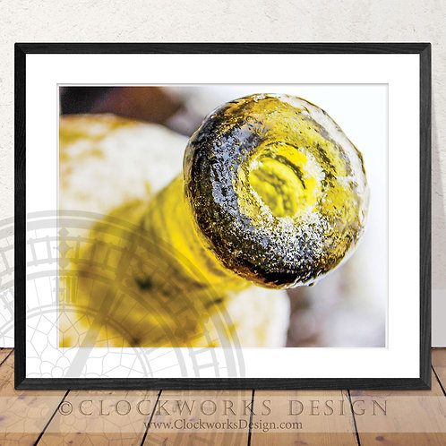 Frosty Wine | Photography, abstract, wine bottle, winter, cold, bar,print, color