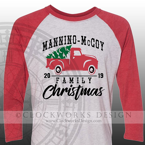 Family Christmas Shirt with Red Truck, Christmas Shirt, Shirt for Women, Shirt for Men, Personalized Shirt, Red Truck